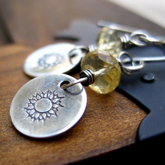 Golden Citrine Earrings Sterling Silver Sun Worshiper