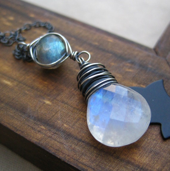 Moonstone Jewelry Wire Wrapped Moonstone Labradorite Gemstone Necklace Sterling Silver Thunderstorm