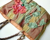 Handmade silk purse. Romantic / vintage inspired modern heirloom. Silk fabric, ribbon embroidery. Autumn earth tones.