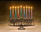 Dancing Rabbi Menorah, 9 candle, in solid bronze