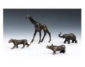 Solid Bronze Rhino figurine, African Plains Animal