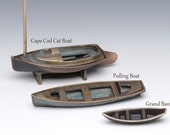 Bronze Pulling Boat (pictured in middle), Sand Cast for Table, Desk, or Curio
