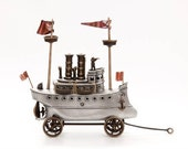 Steam Yacht, Cast Aluminum and Bronze Steampunk Style Ship