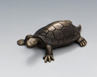 Solid Bronze Turtle figurine, small collectors item