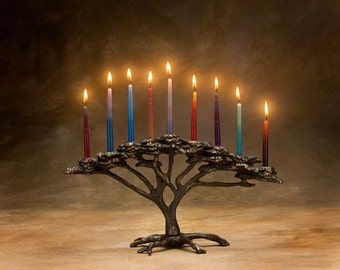 Tree of Life Menorah 9 Candle for Hanukkah, Holiday or Decor