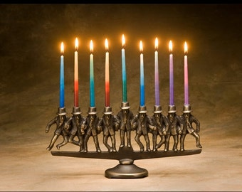 Dancing Rabbi Menorah, 9 candle, in solid bronze