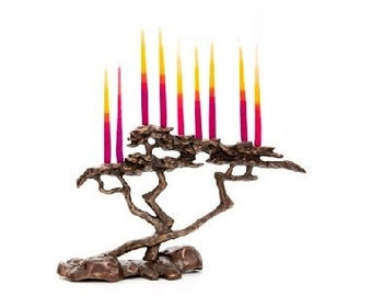 Cypress Menorah for 9 candle for Hanukkah