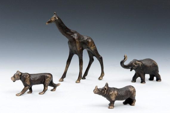 Solid Bronze Giraffe Figurine, table or shelf decor, African animal