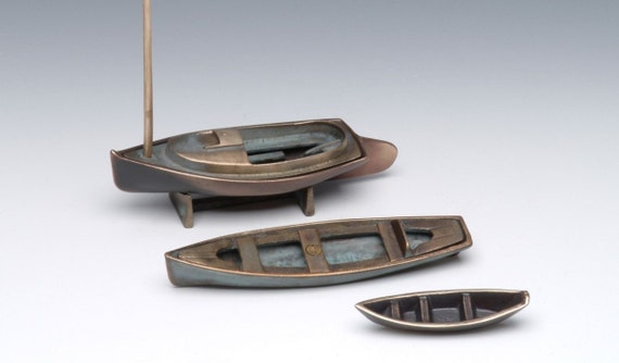 Bronze Cat Boat (top boat in photo), Sand Cast Cape Cod Sailing