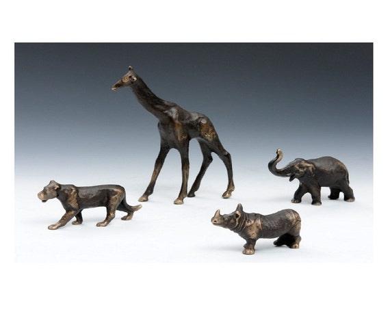 Solid Bronze Elephant figurine, African Plains Animal