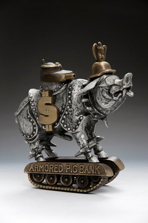 Armored Pig Whimsical Coin Bank, piggy bank, Sand cast bronze and aluminum