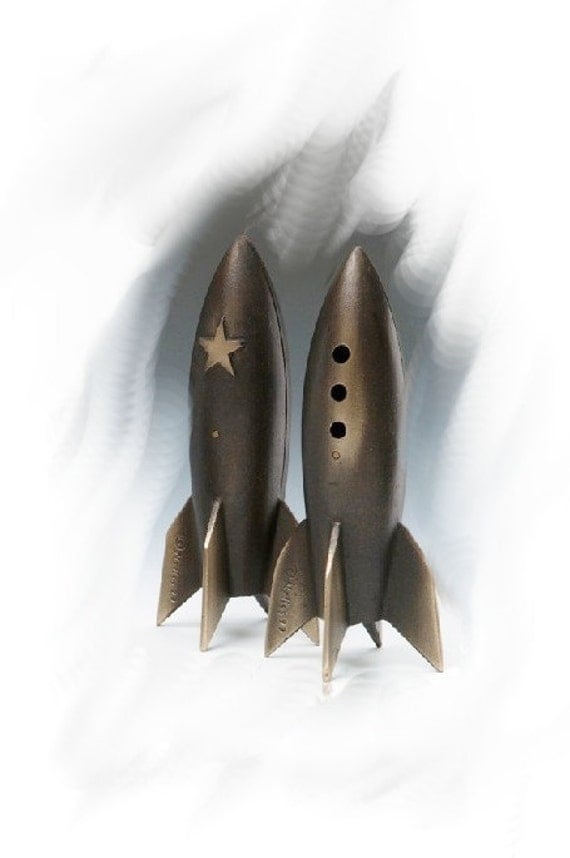 One Rocket Coin Bank (With PORTHOLES) in Sand Cast Bronze for Your Table or Desk