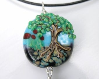 Handmade Lampwork bead necklace, tree landscape made to order on leather cord necklace