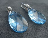 Aqua Pear-Shaped Swarovski Crystal Drop Earring with Sterling Silver Cubic Zirconia French Earwire