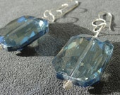 Extra Large Blue Faceted Crystal Earrings on Sterling Silver Chain and Earwires