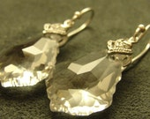 Clear Baroque Swarovski Crystal with Silver Cubic Zirconia Detail Pinch Bail on Sterling Silver Earwires