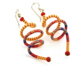 Red and Yellow Coil Earrings