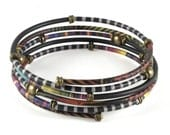 Wrap Bracelet with Ethnic Brass Beads and African Patterns