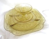 Vintage Amber Yellow Depression Glass Plates and Sherbets