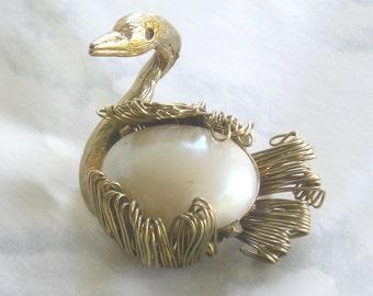 Vintage Swan and Pearl Brooch