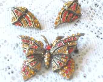 Vintage Rhinestone Butterfly Brooch and Matching Earrings