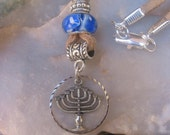 Leather  Jewish Themed  Menorah Necklace