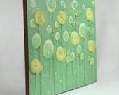 SALE - Lime Green Flower Painting - Original Acrylic on Canvas Art - MEDIUM 20X16 - Lemon Yellow, Lime Green Home Decor