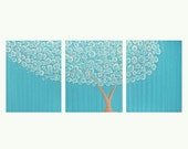 LARGE Turquoise Painting of Tree - Original Acrylic on Canvas Triptych - 50X20 - Blue and Brown Wall Art