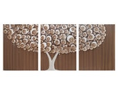 LARGE Tree Painting in Brown - Original Acrylic on Triptych Canvas 50X20 - Woodland Nursery Decor