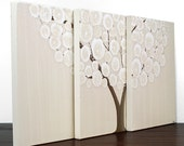 Tree Painting - Original Acrylic Art on Triptych Canvas - Khaki Wall Decor - Medium 35x14