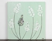 Original Painting on Canvas - Mint Green Nursery Decor - Lavender Canvas Wall Art - Small 10X10 - IN STOCK