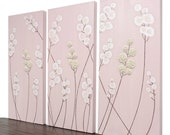Pink Nursery Wall Art - Textured Flower Painting - Triptych Canvas Art Decor - Medium 32x20 - MADE TO ORDER