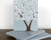 Brown and Blue Wall Art Tree - Original Triptych Painting on Canvas - Medium 35x14 - MADE TO ORDER