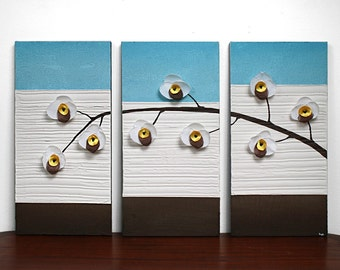 Textured Painting of Orchid Flowers - Canvas Artwork Triptych in Blue and Brown - Medium 32x20