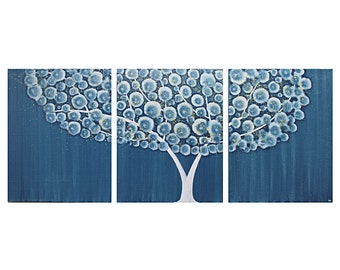 Blue Painting - Original Acrylic Painting on Canvas - Tree Wall Art Triptych - Large 50x20
