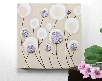 Lavender Nursery Art Rose - Canvas Flower Painting Textured - Small 10x10