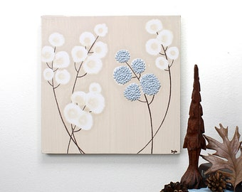 Original Acrylic Painting on Canvas - Textured Flower Wall Art - Blue and Brown Decor - Small 10x10