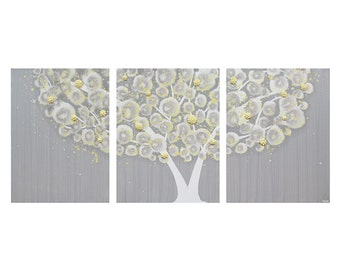 Yellow and Gray Nursery Art Canvas Tree Painting Wall Art Textured Triptych - Medium 35x14 - MADE TO ORDER