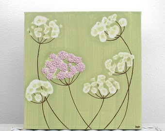Girls Bedroom Decor - Pink and Green Flower Painting - Textured Canvas Art - Small 10x10