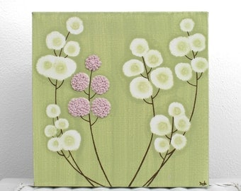 Pink and Green Nursery Art - Textured Flower Wall Art - Original Painting on Canvas - Small 10x10