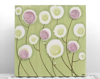 Girls Nursery Canvas Wall Art for Pink and Green Room - Textured Flower Painting - Small 10x10