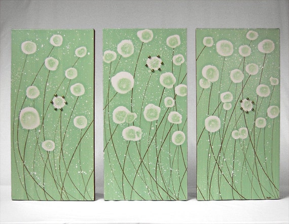 Mixed Media Painting - 10X20 Original Triptych - Dandelions in a Breeze