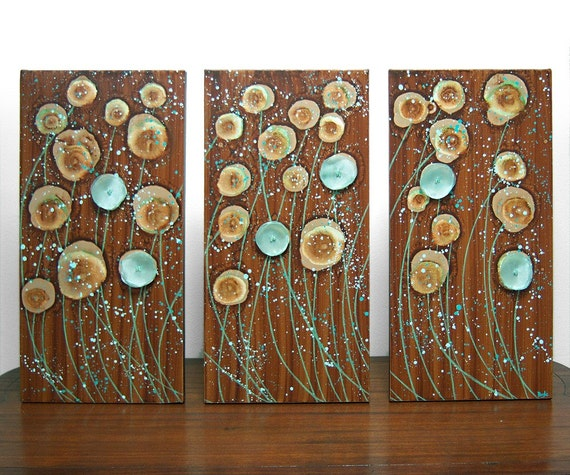 SALE - Brown Painting of Flowers - LARGE Triptych Canvas - Original Acrylic Painting 32X20 - Sea Foam and Walnut Brown Home Decor