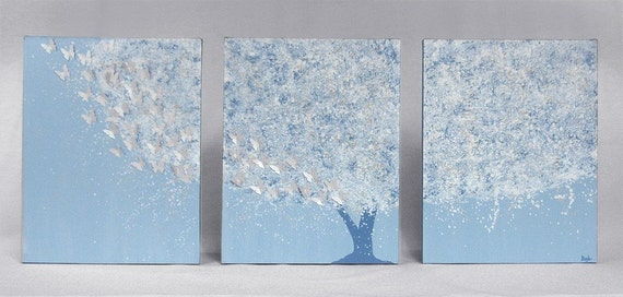 Triptych Painting - 35X14 LARGE Canvas - Silver Butterfly Tree