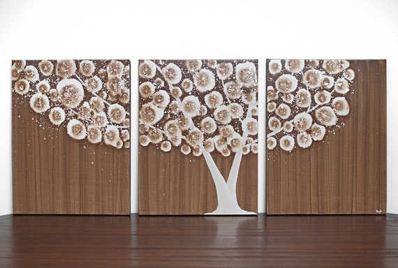 Extra Large Painting - Woodland Decor - Brown Tree Canvas Art - Acrylic Painting Triptych - 62X24 - IN STOCK