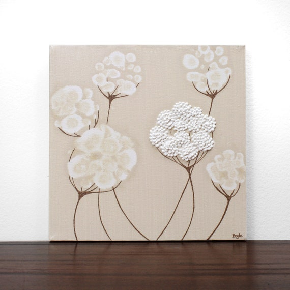 Reserved Listing - Acrylic Painting - Original Canvas Art - Textured White Flower Wall Art - Small 10X10 - IN STOCK