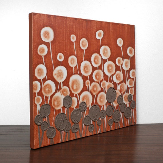 Orange Painting - Modern Fine Art on Canvas - Textured Flower Painting -  20X16 Small - IN STOCK