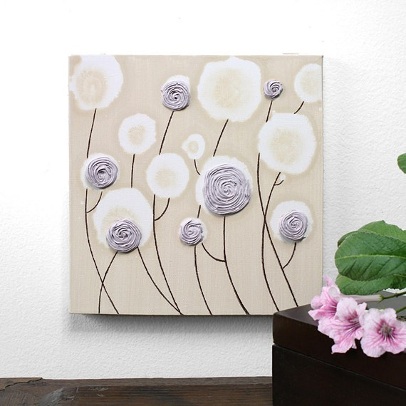 Original Painting of Roses - Textured Canvas Art  - Lavender and Khaki Nursery Decor - 10X10 Small Wall Art - MADE TO ORDER