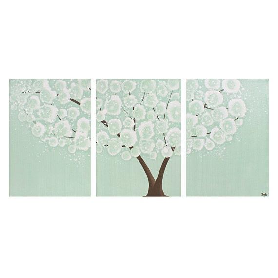 Tree Painting - Large Canvas Art - Mint Green Nursery Wall Art - Three Panel Wall Art 50X20 - IN STOCK