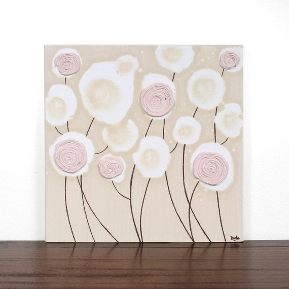 Khaki Nursery Art Decor - Acrylic Rose Painting - Textured Canvas Art - 12X12 Pink and Brown Small Wall Decor - IN STOCK